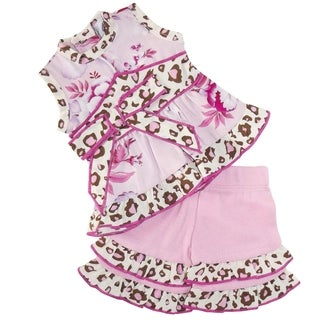 AnnLoren Pink Floral and Leopard Halter 18-inch Doll Clothing Set