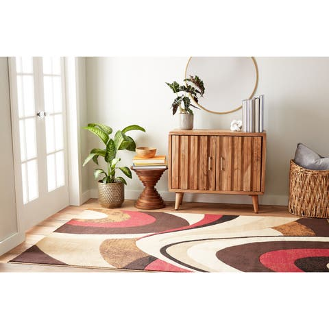 """Home Dynamix Tribeca Collection Contemporary Brown-Red Area Rug - 3'3"""" x 4'7"""""""
