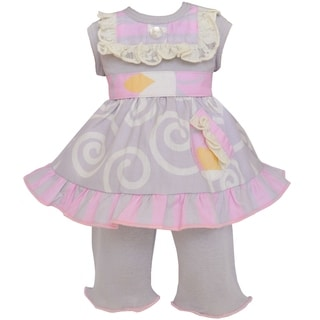 AnnLoren Pink and Grey Floral Swirl 18-inch Doll Clothing Set