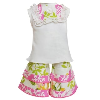 AnnLoren Pink Floral Birds Shirt and Pants 18-inch Doll Clothing Set