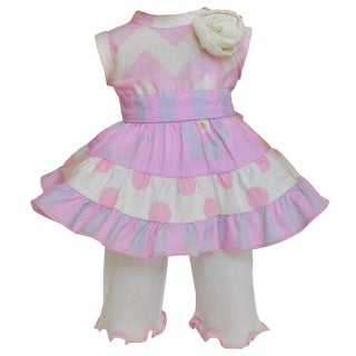 AnnLoren 2-Piece Pink Chevron 17-inch Doll Floral Dress Set