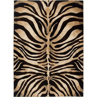"Home Dynamix Tribeca Collection Contemporary Black-Ivory Area Rug (39"" x 55"" )"