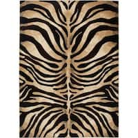 "Home Dynamix Tribeca Collection Contemporary Black-Ivory Area Rug - 3'3"" x 4'7"""