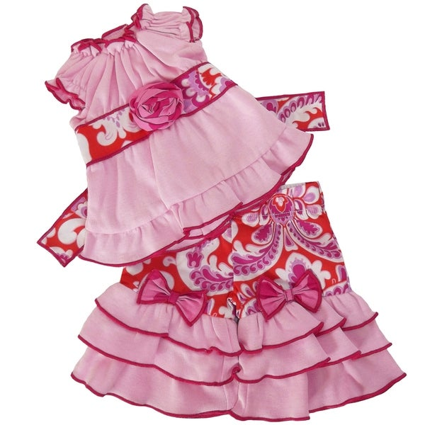 AnnLoren Pink and Orange Floral Damask 18-inch Doll Clothing Set