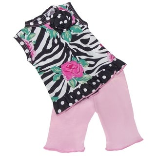 AnnLoren Pink Zebra Rose 18-inch Doll Clothing Set