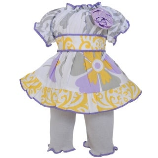 AnnLoren Purple and Grey Floral 18-inch Doll Clothing Set