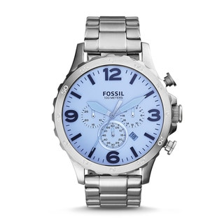 Fossil Men's JR1509 Nate Chronograph Silver Dial Stainless Steel Bracelet Watch