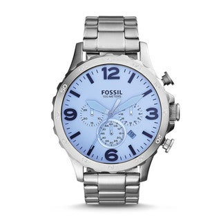 Fossil Men's JR1509 Nate Chronograph Silver Dial Stainless Steel Bracelet Watch|https://ak1.ostkcdn.com/images/products/11037193/P18051005.jpg?_ostk_perf_=percv&impolicy=medium