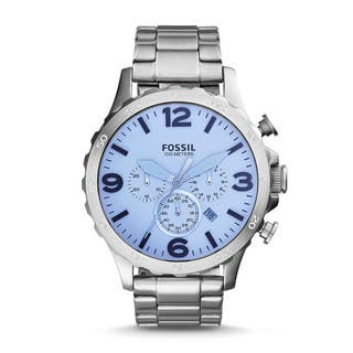 Fossil Men's JR1509 Nate Chronograph Silver Dial Stainless Steel Bracelet Watch|https://ak1.ostkcdn.com/images/products/11037193/P18051005.jpg?impolicy=medium