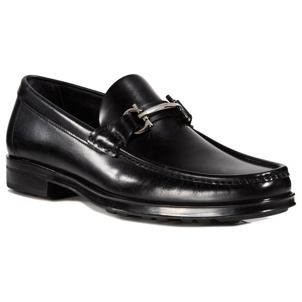 90b38e01489 Shop Salvatore Ferragamo Men s Morrice Black Leather Gancini Loafers ...