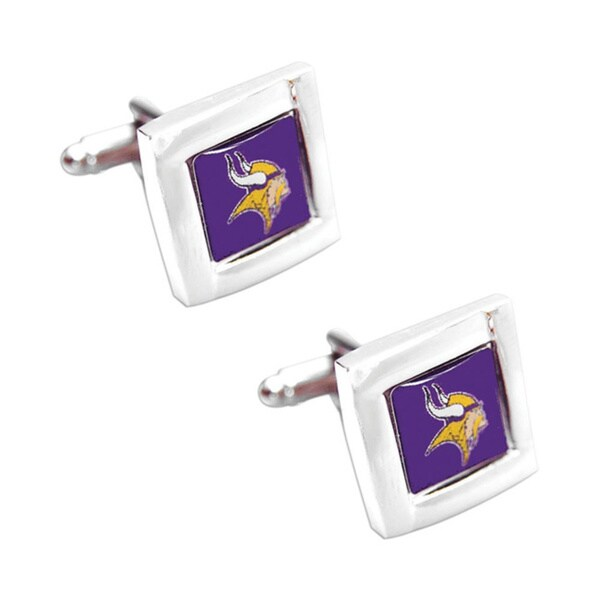 NFL Minnesota Vikings Square Cufflinks with Square Shape Engraved Logo Design Gift Box Set