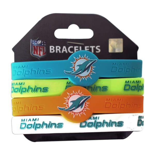 NFL Sports Team Logo Silicone Rubber Wrist Band Bracelet (Set of 4)