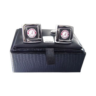 NCAA Sports Team Logo Square Cufflinks Gift Box Set (Option: Alabama Crimson Tide)