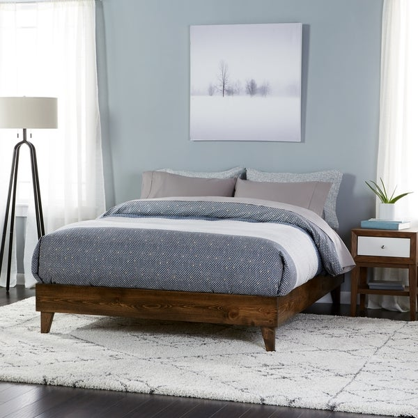 Wood mid century platform style bed free shipping today for Bed styles images