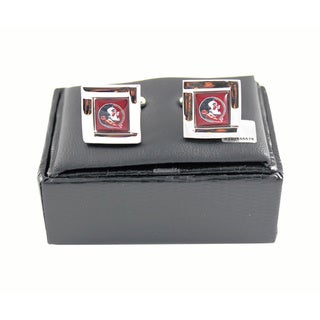 NCAA Square Cufflinks with Square Shape Engraved Logo Design Gift Box Set