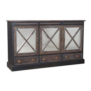 Belle Grove Manor Greystone/ Heritage Dark Grey Wood Credenza
