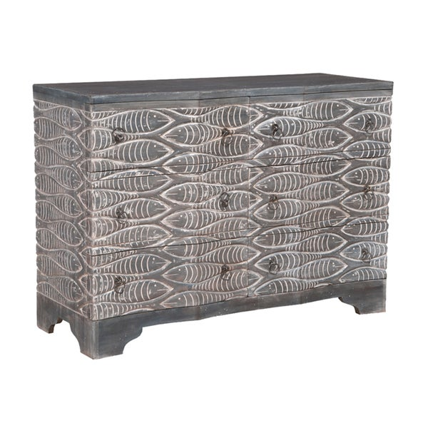 Harmony Waterfront Grey 6 Drawer Chest With Silver Ring Pulls