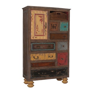 Weathered Mosaic Mahogany Treasure Chest Armoire