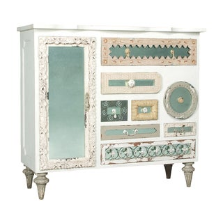 Garden Lattice White Mirror Mosaic Wide Chest