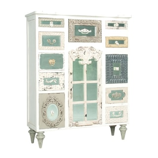 Garden Lattice White Mirror Mosaic Tall Chest