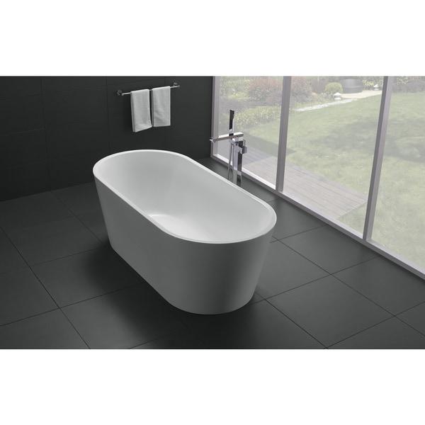 Eviva Alexa 60 Inch White Free Standing Strengthen Acrylic Bathtub Free Shi