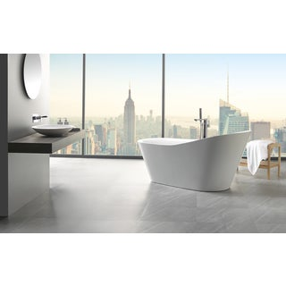 "Eviva Emely 71"" White Free Standing Strengthen Acrylic Bathtub"