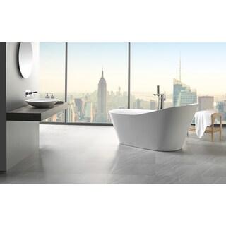 "Eviva Emely 71"" White Free Standing Strengthen Acrylic Bathtub"