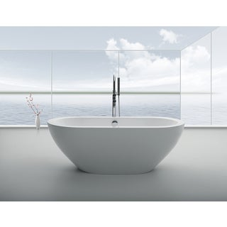 "Eviva Lina 67"" White Free Standing Strengthen Acrylic Bathtub"