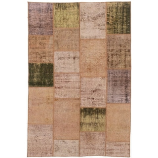 ecarpetgallery Color Transition Patch Brown Wool Rug (4'10 x 7'5)