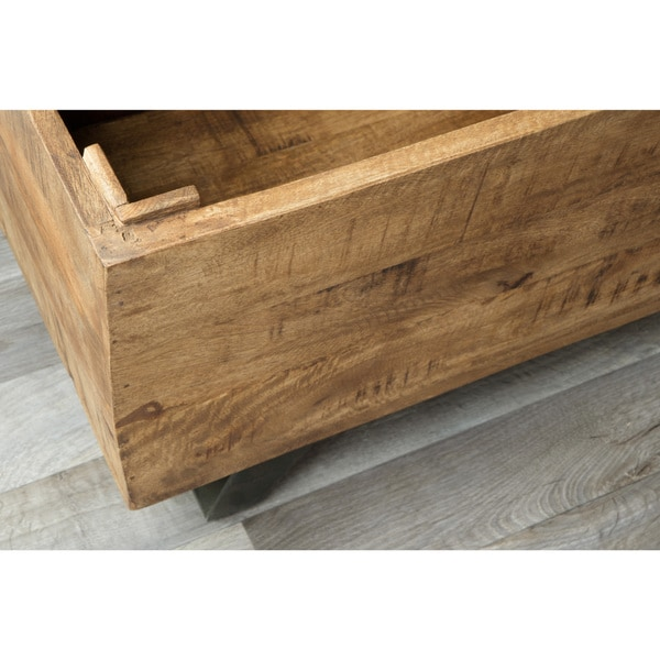 Awesome Axis Mid Century Raw Mango Wood Storage Chest By Kosas Home   Free Shipping  Today   Overstock.com   18051091