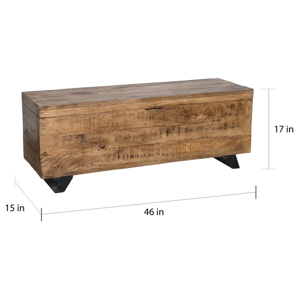 Exceptional Axis Mid Century Raw Mango Wood Storage Chest By Kosas Home   Free Shipping  Today   Overstock.com   18051091