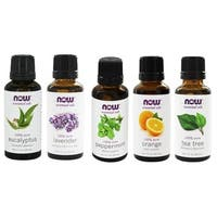 Now Foods 1-ounce Essential Oils Pack of 5 (Eucalyptus, Lavender, Peppermint, Orange, and Tea Tree Oil)