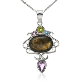 Sterling Silver 18x13mm Oval Labradorite and Multi Gemstone Pendant