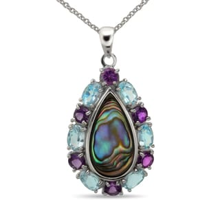 Sterling Silver Abalone, Blue Topaz and Amethyst Pendant