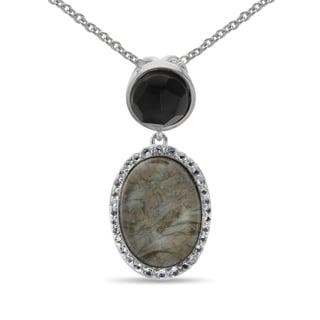 Sterling Silver Oval Labradorite Quartz Doublet and Multi Gem Pendant