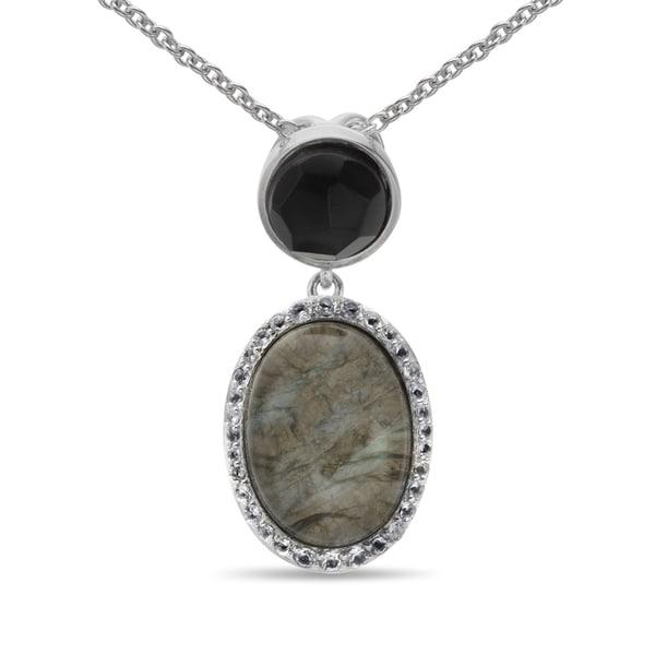 Sterling silver oval labradorite quartz doublet and multi gem sterling silver oval labradorite quartz doublet and multi gem pendant aloadofball Images