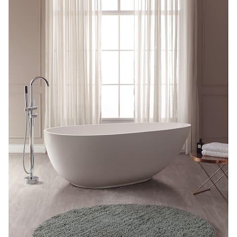 """Avanity Gaia 67"""" Free Standing Acrylic Soaking Tub with Center Drain, Pop-Up Drain Assembly, and Overflow"""