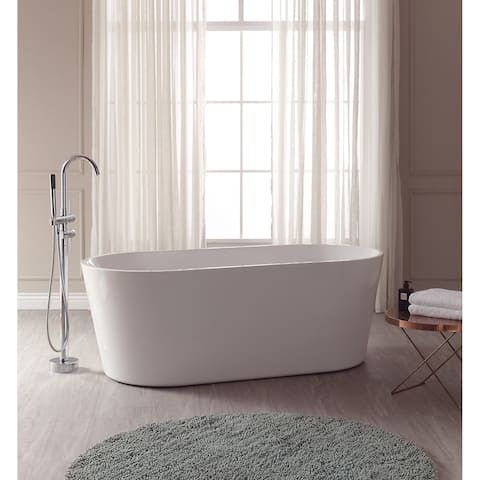 """Avanity Aria 67"""" Free Standing Acrylic Soaking Tub with Center Drain, Pop-Up Drain Assembly, and Overflow"""