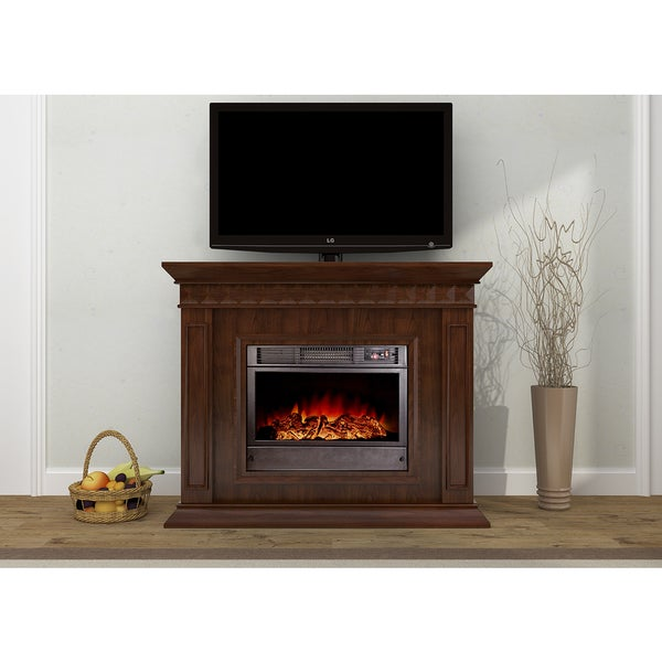 shop jasper 48 inch brown electric fireplace free shipping today 11037405. Black Bedroom Furniture Sets. Home Design Ideas