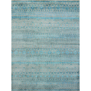 Hope Classic Design Blue Hand-knotted Rug (9'x12')