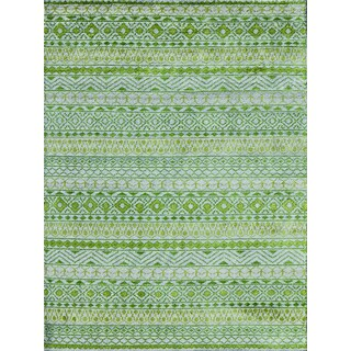 Hope Modern Design Apple Green Viscose Hand-knotted Rug (9'x12')