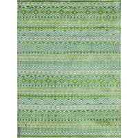 Hope Modern Design Apple Green Viscose Hand-knotted Rug (9'x12') - 9' x 12'
