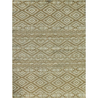 Hope Ornamental Patterened Camel Hand-knotted Rug (9'x12')