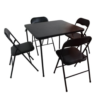 Adeco Black Folding 5-piece Table and Chairs Set with 1 Table and 4 Chairs