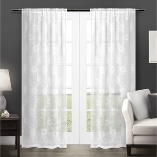 ATI Home Seville Embroidered Semi-Sheer Rod Pocket Window Curtain Panels
