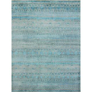 Hope Modern Design Blue Viscose Hand-knotted Rug (4'x6')