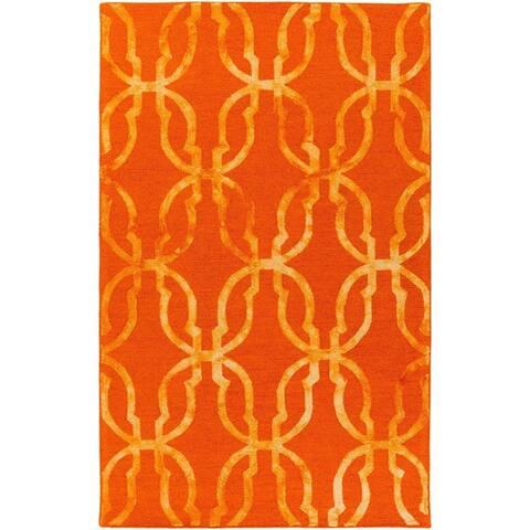 Strick & Bolton Mauve Hand-tufted Wool Trellis Area Rug