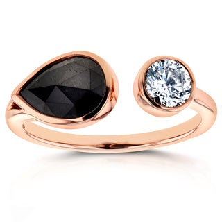 Annello by Kobelli Two Collection 14k Rose Gold 1 7/8ct TDW Black and White Bezel Diamond Wrap Aroun