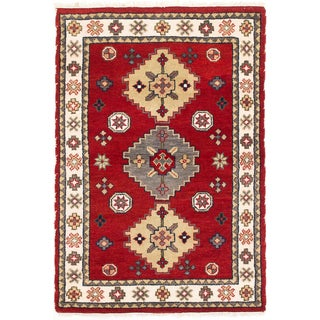 ecarpetgallery Royal Kazak Beige/ Red Wool Rug (4'0 x 5'11)
