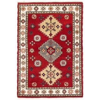 ecarpetgallery Royal Kazak Beige/ Red Wool Rug (4'0 x 5'11)